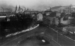 Pohled na město z kostelní věže - rok 1913